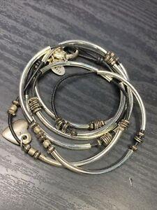 Lizzy James 2  Strand Necklace Bracelet-Convertible Silver Heart Charm
