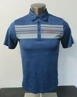 Mens Travis Mathew Short Sleeve Polo Blue Shirt Size S Cotton Polyester Golf