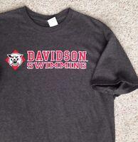 New Adult Lrg DAVIDSON SWIMMING T-SHIRT Dark Charcoal College Wildcats Swim Team