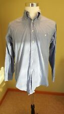 Brooks Brothers Men's Long Sleeve Button Down White/Blue Checked Shirt, 15 1/2