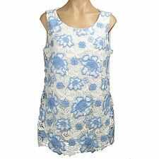 Women's Embroidered Floral Lace Sleeveless Blouse Top Charter Club Size L New