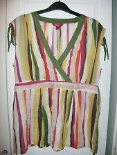 MONSOON COTTON TUNIC TOP BLOUSE 10 striped pink yellow white green orange brown