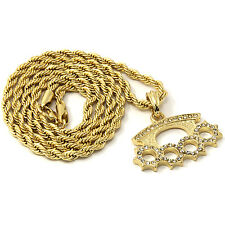 "Mens Gold Iced Cz Knuckle Duster Pendant 30"" Rope Chain Hip Hop Necklace D878"
