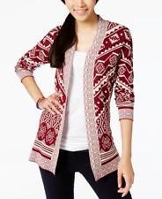 NWT HIPPIE ROSE Juniors Brandy Wine Open-Front Pattern Cardigan Sweater Sz LARGE