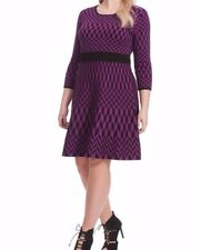 Taylor Dresses Midweight Sweater Fit And Flare Dress In Ultra Violet Print SZ 1X