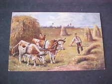 Farming Hay Stacks Oxen Wagon Artist Drawn Postcard