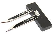 2x OEM Chrome AMG Edition Emblems Knife Type Badges 3D for MERCEDES Benz UL BK