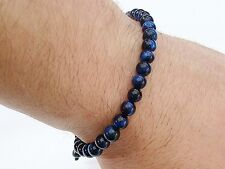 Natural Gemstone Men's Shamballa bracelet all 6mm BLUE Tiger Eye beads