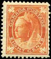 Canada #72 mint F-VF OG H 1897 Queen Victoria 8c orange Maple Leaf CV$325.00