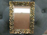 Vintage Ornate Gold Metal Filigree Picture Frame Easel Back 5 X 7 Photo