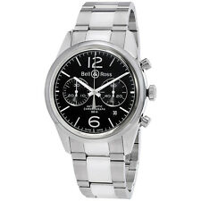 Bell and Ross Officer  Chronograph Black Dial Mens Watch BR126-OFFICER-SSB