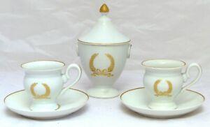 Superbe ancien Tête à tête Porcelaine de Paris Décor Empire doré Service à Café