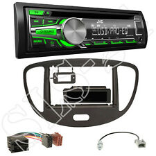 JVC KD-R453E CD AUX Autoradio + Hyundai i10 Blende schwarz + ISO Adapter+Antenne