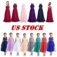 US Flower Girl Dress Wedding Junior Bridesmaid Gown Chiffon Party Birthday Dress