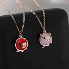 Pendant Necklace Titanium Steel Jewelry Woman Birthday Lucky Pink Crystal Pig