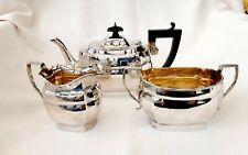 More details for sterling silver three piece tea set - j carrington, birmingham, 1929