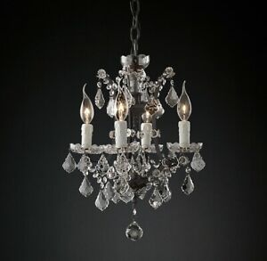 "Rococo Chandelier 6 Light 13""  Rustic Iron Smoke European Crystal(ACH30)"
