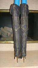 STUNNING NEW $1,850 THIGH HIGH DENIM BOOTS BY EMILIO PUCCI