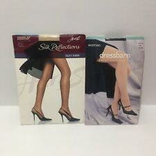1x And Size GH Pantyhose Unworn Lot Of 2 Navy Beige Control Top Sandalfoot
