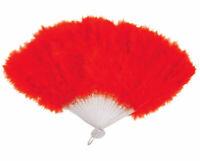 Red Feather Fan - 45cm x 27cm - Moulin Rouge Costume Fancy Dress