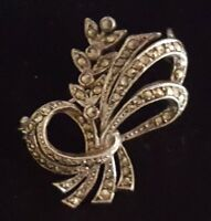 Silver plate & marcasite vintage Art Deco antique floral brooch G