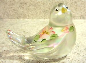 Fenton Glass Crystal Iridized Handpainted Floral Songbird , new in box