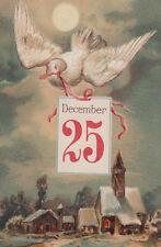Christmas Dove Winter Cabin Scene EAS Postcard