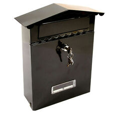 BLACK STEEL LETTER POST MAIL BOX MAILBOX POSTBOX LETTERBOX W/ TWO KEYS TO LOCK