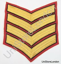 Chevron Large 4 Gold & Black Bars on Red R871