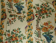 SCALAMANDRE Floral Warp Print Ikat Cotton Multi Color Large Scale 6 yards New
