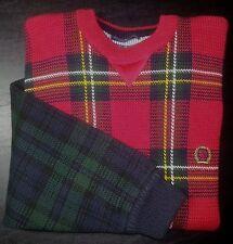 107c L Red Green White Navy Blue Plaid TOMMY HILFIGER Crest Logo L/S Sweater!