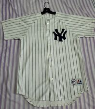 White Pinstripe Posada 20 Yankees Authentic Majestic MLB Field Jersey