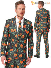 Mens Pumpkin Leaves Suitmeister Outfit Halloween Fancy Dress Costume Large
