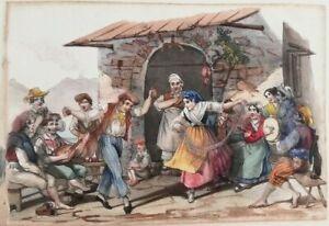 Litografia Napoli: Tarantella con gruppo presso una cantina Metà '800 RARA (M43)