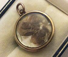 Lovely Antique Victorian 9ct Gold Hair Locket Pendant Superb