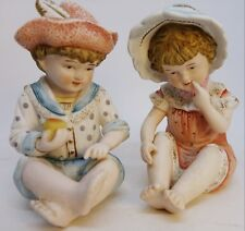 Vintage Bisque Children Piano Baby Figurines Andrea by Sadek Pottery Miniature