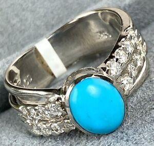 Blue Turquoise Cabochon Diamond 14K White Gold Ring Vintage Signed MCD Size 7.25