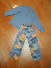 Mini Boden Boys 7 8 Outfit Pullover Camouflage Adjustable Waist Pants