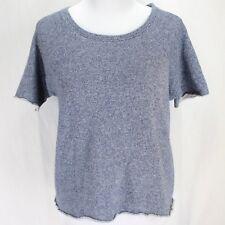 Victorias Secret Sweatshirt Top Sz XS Blue Raw Edge Short Sleeve Cropped Knit