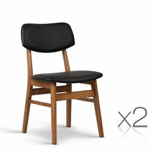 Artiss Wood and PVC Dining Chairs - Black/Brown