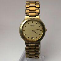 Vintage Seiko Mens Watch 5Y29-6009 Gold Tone Date Indicator Analog Wristwatch