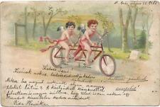 Bicycle, Angels on a Tandem Bicycle, Unusual Old Postcard Pre. 1905