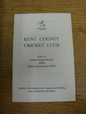 1989 Cricket: Kent County Cricket Club - Notice Of Annual General Meeting 1989 &