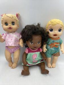 Lot Of 3 Baby Alive Dolls Beautiful Now Sip N Slurp Luke