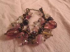 "Next Copper Tone & Purple & Pink Glass Bead Chain Bracelet - 6.5-8"" long"