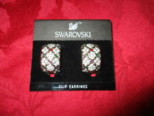 Swarovski Clip Earrings Demi Hoop Clear Crystal with red and green accents