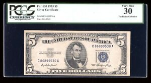 DBR $5 1953 Silver Fr. 1655 CA Block PCGS 30 Serial C86899530A