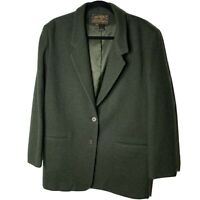Eddie Bauer Size Large Womens Olive Green Wool Double Breasted Blazer Jacket
