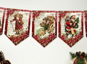 Christmas Holidays Vintage Victorian Santa Banner Bunting Decoration