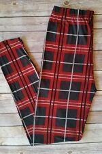 Red Black Plaid Print Leggings ONE SIZE OS